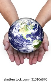 Planet in hands on white background, Elements of this image furnished by nasa.