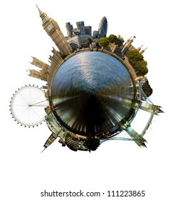 Planet London - Miniature planet of London, with all important buildings and attractions of the city, isolated on white