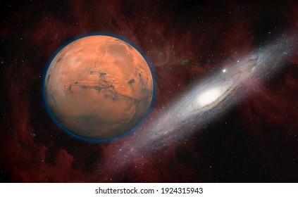 "Planet Mars with Andromeda galaxy ""Elements of this Image Furnished By Nasa"""