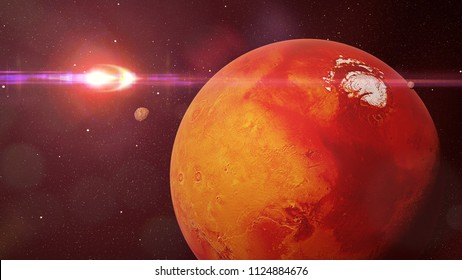 planet Mars during the Martian winter lit by the distant Sun (3d rendering, elements of this image are furnished by NASA)