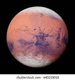 planet Mars during the Martian winter, isolated on black background (3d illustration, elements of this image are furnished by NASA)