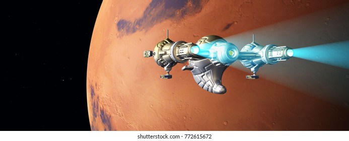 Planet Mars and passing spacecraft Computer generated 3D illustration