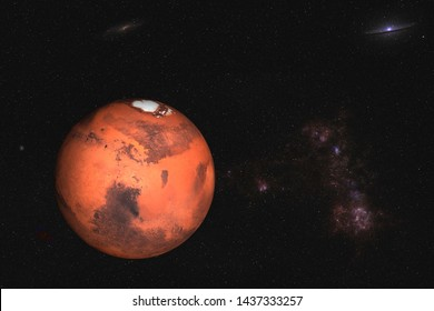 Planet Mars of solar system in outer space. Science fiction. Elements of this image were furnished by NASA.