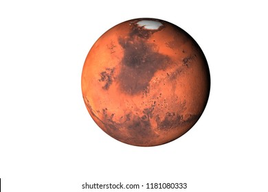 Planet Mars of solar system render isolated on white background. Elements of this image furnished by NASA.