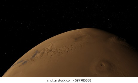 Planet Mars from space 3D illustration (Elements of this image furnished by NASA)