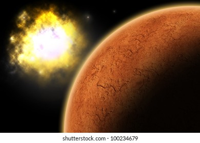 Planet Mars in the space with a galaxy in the background.