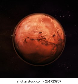 Planet Mars in space, visible red rock planet with thin red atmosphere with distance stars in the background. Elements of this image supplied by NASA.