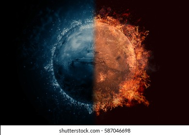 Planet Mars in water and fire. Concept sci-fi artwork.