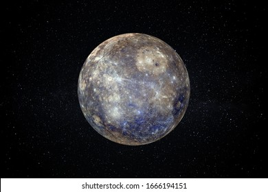 Planet Mercury in the Starry Sky of Solar System in Space. This image elements furnished by NASA.