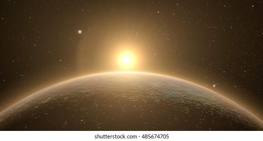 planet mercury with sunrise on the space background, 3d render. Elements of this image furnished by NASA