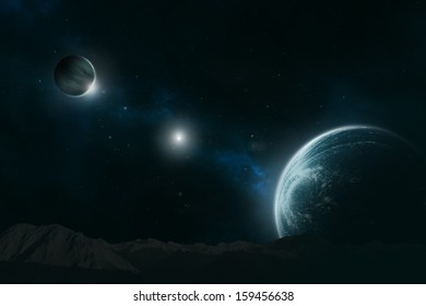 Planet with moon in a distant galaxy, deep in the unknown universe
