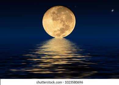 Planet Moon and shadows in the water. Elements furnished by NASA.