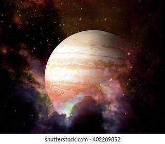 Planet and Nebula - Elements of this image furnished by NASA