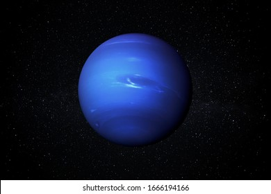 Planet Neptune in the Starry Sky of Solar System in Space. This image elements furnished by NASA.