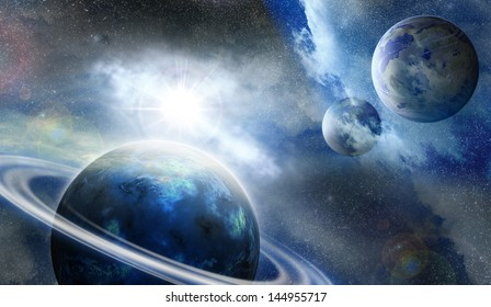 planet in outer space covered by fog illuminated distant star
