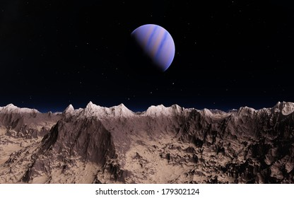 Planet over moon