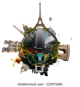 Planet Paris - Miniature planet of Paris, France, with all important buildings and attractions of the city, isolated on white