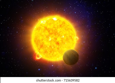 Planet passing in front of a star - 3D scientific illustration