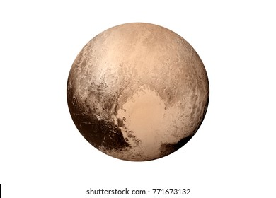 Planet Pluto in outer space isolated on white. Elements of this image furnished by NASA