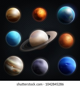 Planet realistic icon set with earth mars Jupiter Saturn Venus and others planets of the solar system  illustration