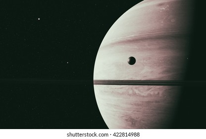 planet Saturn along with its moon rhea, close up 3D rendering. Elements of this image furnished by NASA
