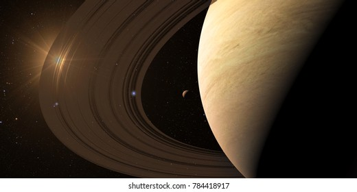 planet Saturn along with its satellites in space, close-up 3D rendering. Elements of this image furnished by NASA