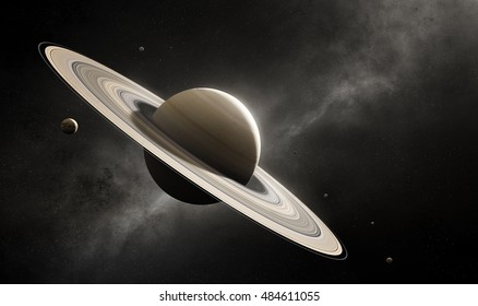 Planet Saturn in deep space with major moons according to scale (Elements of planet texture for 3d render furnished by NASA)