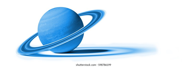 planet Saturn, isolated on white background (blue 3d illustration, background banner, elements of this image are furnished by NASA)