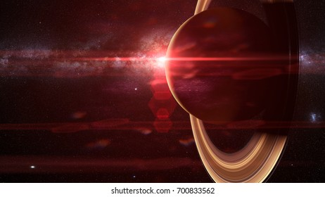 the planet Saturn with and the Milky Way (3d render, elements of this image are furnished by NASA)
