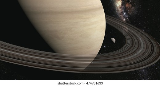 planet saturn with rings on the space background. 3d render Elements of this image furnished by NASA