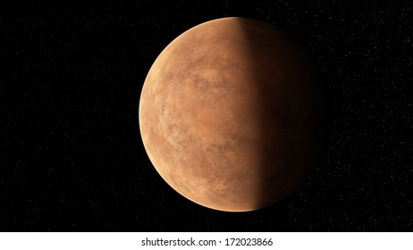Planet similar to Mars against the stars