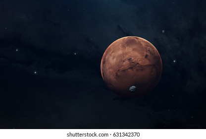 Planet of solar system, Mars, in endless dark space. Educational image. Elements of this image furnished by NASA