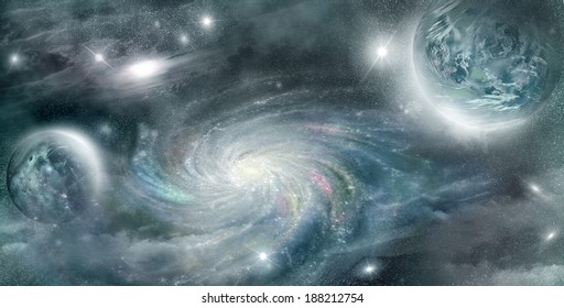 planet in space illuminated glow stars in the background nebulae and spiral galaxies
