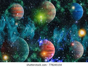 planet in space with sun flash. Elements of this image are furnished by NASA