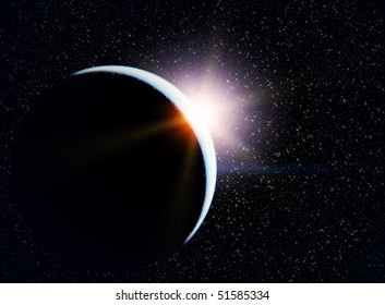 Planet, sun and stars