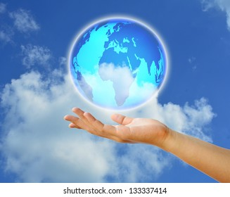 Planet System in Your Hand. Conceptual Image.