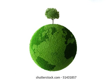 Planet with tree and grass