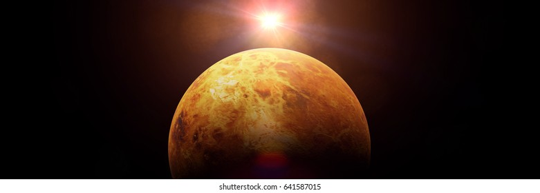 planet Venus lit by the bright Sun (3d illustration banner, elements of this image are furnished by NASA)