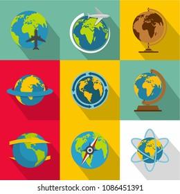 Planetary environment icons set. flat set of 9 planetary environment icons for web isolated on white background