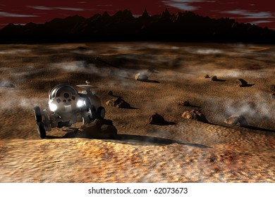 Planetary rover during the reconnaissance