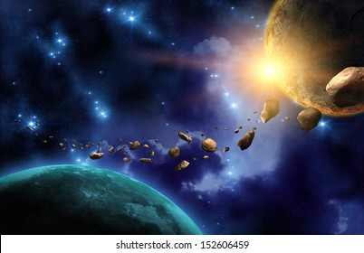 Planets and asteroids in black space with sun and stars