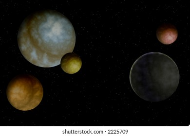 Planets in a black sky