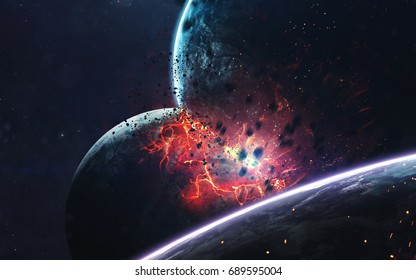 Planets explosion, science fiction image, dark deep space with giant planets, hot stars, starfields. Incredibly beautiful cosmic landscape . Elements of this image furnished by NASA