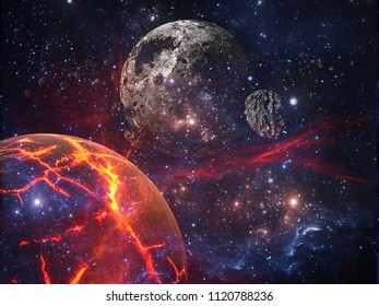 Planets and galaxies, cosmos, physical cosmology, science fiction wallpaper. Beauty of deep space. Billions of galaxies in the universe Cosmic art background