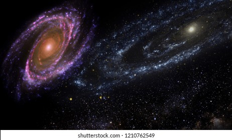 Planets and galaxy, cosmos,  physical cosmology, science fiction wallpaper. Beauty of deep space. Billions of galaxies in the universe Cosmic art background