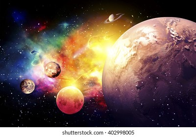 Planets Galaxy, the over light - Elements of this Image Furnished by NASA
