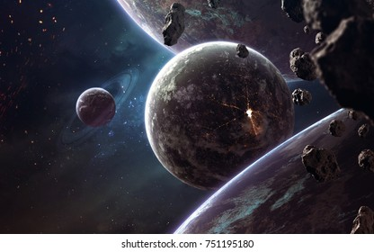 Planets, glowing stars and asteroids. Deep space image, science fiction fantasy in high resolution ideal for wallpaper and print. Elements of this image furnished by NASA