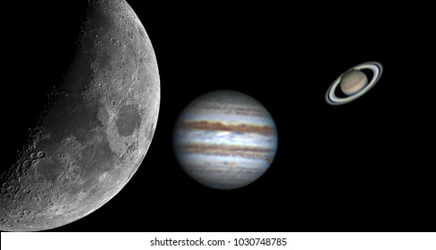 Planets (Jupiter and Saturn) and our Moon taken by telescope aligned in order, in a black background.
