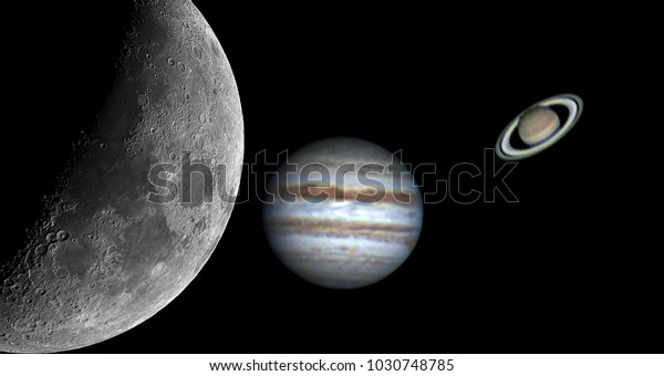 Planets Jupiter Saturn Our Moon Taken Stock Photo (Edit Now