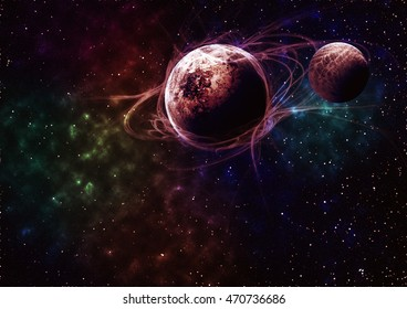 planets with nebula. with stars in the background